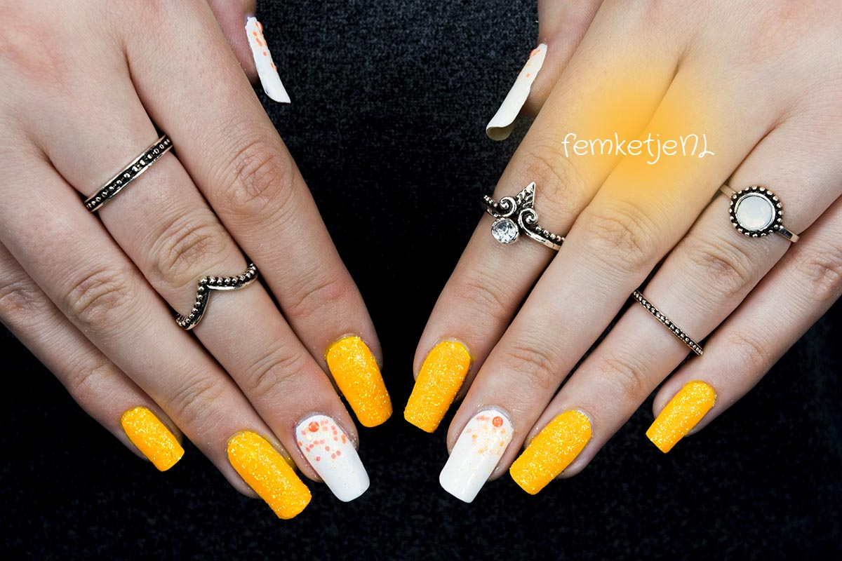 Tutorial White Orange Glitter Nail Design Femketje