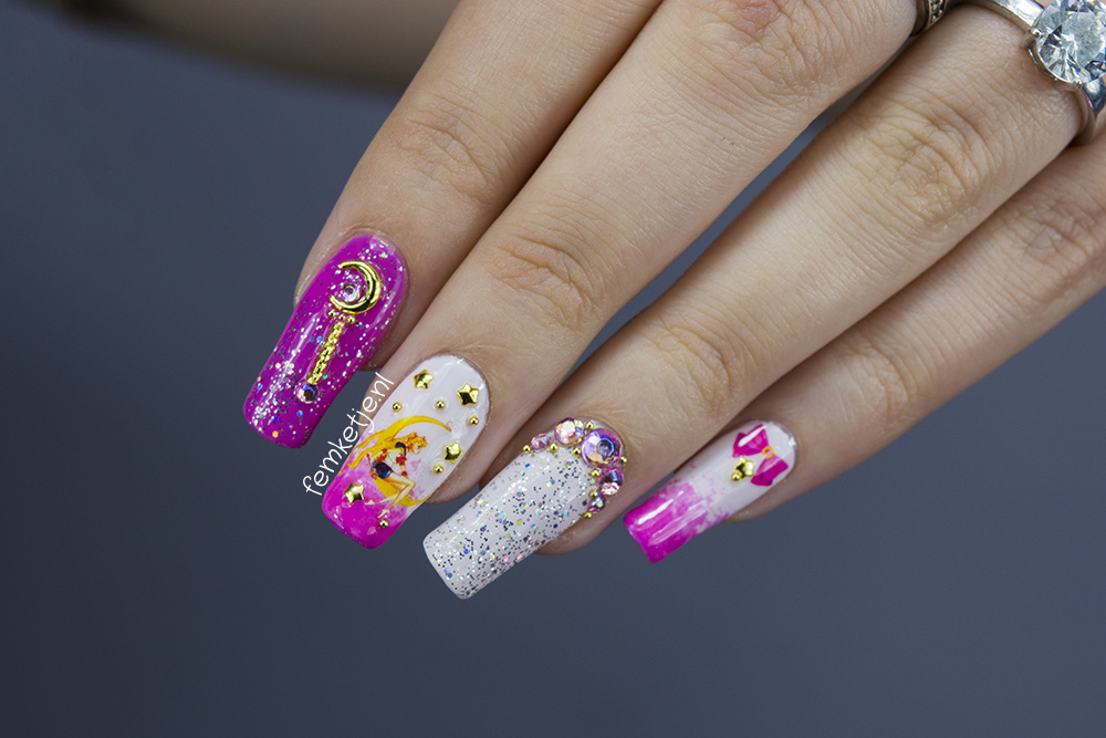 Sailor Moon Inspired Nailart Natural Nails Regular Nailpolish