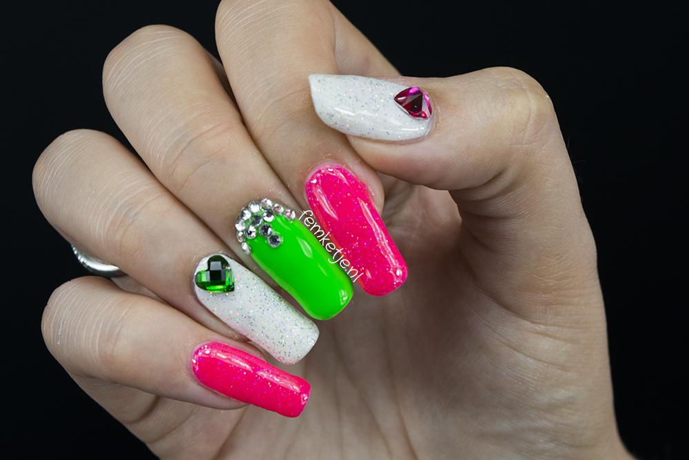 Summery Neon Green Pink Gelpolish Nailart Pink Gellac Femketje