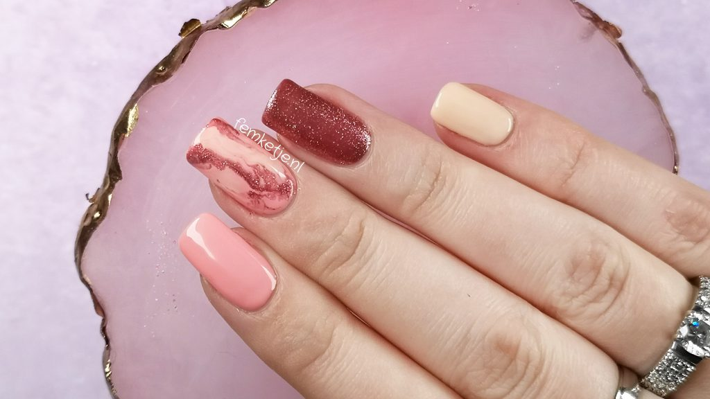 Madam Glam Pink Marble Nail Art Gel Polish Overlay On Natural Nails Femketje Nl